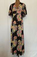 Vintage 70's Women's Size S Floral Maxi Dress Boho Bell Sleeve