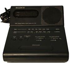 Vtg Sony Dual Alarm Digital Clock Am/Fm Radio Icf-C770 w/ Tilt or Wall Mount