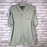 Banana Republic Men's Button Up Sweater Shirt Short Sleeve Light Green Size  L