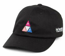 Huf Worldwide Skateboard 6 Panel Cap Dad Hat Peak Logo Curved Visor Black