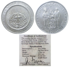 .999 Fine Unc W//COA 2004 $1 Silver Shawnee Tribe Expedition Of Discovery 1oz