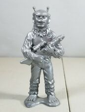 Vintage Silver Plastic Figurine Holding A Gun No Makers Mark 49A33