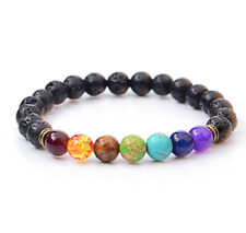 UK. Lava Stone Chakra 7 Crystal Gemstone Black Beaded Bracelet. Reiki Yoga