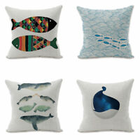 Whale Small fish Sofa Waist Cushion Cover Pillow Case Home Decor