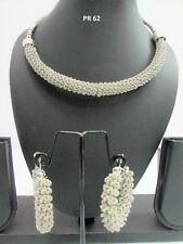 Indian Fashion Bollywood Jewelry Silver Plated Necklace Earrings Sets PR 62