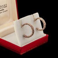 Antique Vintage Deco Mid Century Sterling Silver Geometric Womens Hoop Earrings