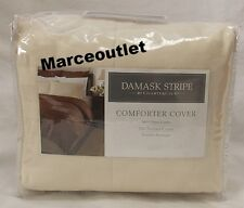 Charter Club 500 Thread Count Damask Stripe FULL / QUEEN Duvet Cover Natural