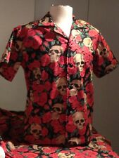 """Resting In Roses"" SOMETHING FISHY Handmade Shirt XL Hawaiian, Tropical, Cotton"