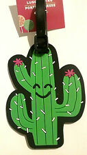Cactus Smiling Face Pink White Green Luggage Travel Backpack Soft Flexible Tag