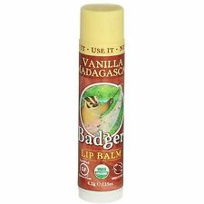 4 Pack Badger Classic Lip Balm Stick, Vanilla Madagascar, 0.15 oz