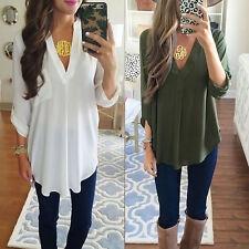 Femmes Hauts chemises T-shirt Blouse dame Tops manches longues plus la taille