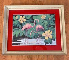 Original Vintage 1940's Pink Flamingos Duet Serigraph Florida Hemia Calpini