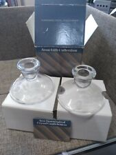"""Avon Gift Collection Hummingbird 24% Lead Crystal 2 Glass Candle Holders 4"""""""