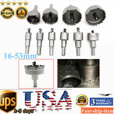 10Pc Carbide Tip TCT Hole Saw Cutter Drill Bit Fit Stainless Metal Alloy 16-53mm