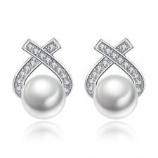 925 Sterling Silver Pearl Crystal Cross Stud Earrings For Women Retro Jewelry