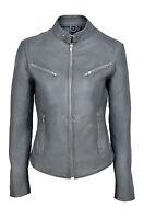 Joan Grey Ladies Women's Short Soft Napa Sheep Designer Real Leather Jacket