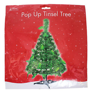 Table Top Green Pop Up Tinsel Spiral Christmas Tree 45cm