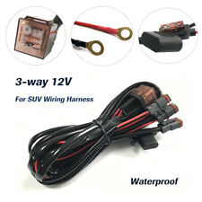 Car 3-way 12V SUV Wiring Cable Harness for LED Driving Fog Light Bar Waterproof