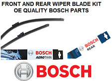 Cadillac SRX Front + Rear Windscreen Wiper Blade Set 2003 to 2009 BOSCH AEROTWIN