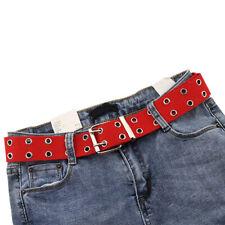 US Unisex Canvas Double Grommet Holes Belt with Metal Buckle 2-Row Studded Belts