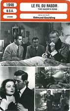 Fiche Cinéma. Movie Card. Le fil du rasoir/The razor's edge (USA) 1946