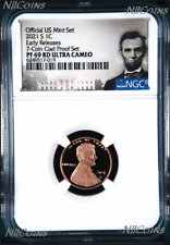 2021 S US Mint 7-Coin-Clad-PF-SET Version- LINCOLN CENT Penny NGC PF69 RD ER