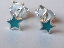 STERLING SILVER & GREEN ONYX TINY STAR SHAPED 4mm STUD EARRINGS £6.50  NWT