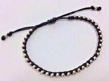 Unisex Black Macrame String Silver Bead Bracelet Sliding Knot Boho Surfer Anklet