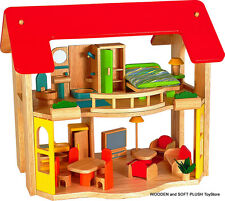 NEW childs GIFT wooden toy 2 LEVEL DOLLS HOUSE + FURNITURE pretend play activity
