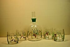 (5)pc Mallard Duck Waterfowl Whiskey Decanter & (4) Double Old Fashioned Glasses