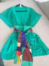 ERES Green Cotton Short Sleeve V Neck Belted Tunic Dress Sz S/M