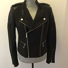 BCBG Max Azria Alison women's Brown Black Quilted Faux Leather Motorcycle Jacket