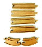 "LOT OF 6 Wooden Tracks /  4-6"" Straight + 2-4"" Curved / Thomas The Train Railway"