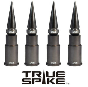 4 TRUE SPIKE GUNMETAL SPIKED WHEEL RIM TIRE AIR VALVE STEM COVER CAP FOR HONDA