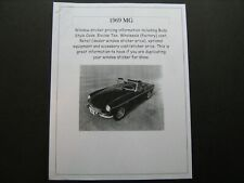 1969 MG--MGB and Midget dealer cost/window list sticker $$ for car/options '69