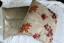 TAUPE EMBROIDERED FLORAL DESIGN PILLOW CUSHION PAIR 45x45cm - BRAND NEW