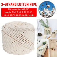 6 mm thick Natural Cotton Cord String Rope Craft 3 Strand Macrame DIY Home Decor