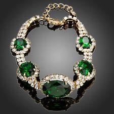 Sparkle Moda Elegante Brillante Pedrería Verde Circón Chapado en Oro Pulsera Regalo