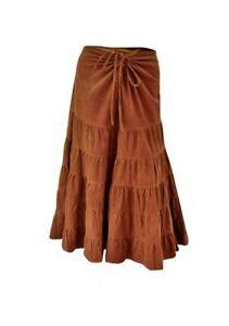 Ladies Cotton Camel Corded Boho Style Tiered Skirt  - Sizes UK 10/12