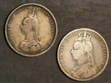 GREAT BRITAIN 1887/1889 1 Shilling Silver - 2 Coins