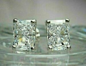 4.20Ct Emerald Cut Moissanite Stud Screw Back Earrings in 14k White Gold Finish