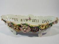 Plaue von Schierholz Schale Korbschale L 40 cm Porzellan Blumen handbemalt 1900
