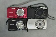 4x Compact Digital Cameras 14MP Resolution Fujifilm NIkon Canon Olympus Used