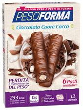 Pesoforma - 12 Barrette Gusto Cioccolato Cuore Cocco - 6 Pasti Sostitutivi