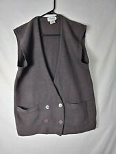 Jh Collectibles Womens Sweater Size Large Brown Cardigan Vest Angora Wool Blend