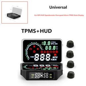 Car GPS HUD Speedometer Overspeed Alarm TPMS State Display Digital Meter Tool