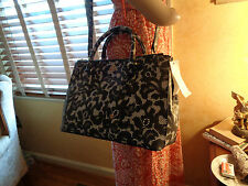 NWT TORY BURCH Robinson PRINTED Ferrara LACE Double Zip Leather  DUSTBAG $365