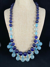 Coldwater Creek Statement Necklace Long Dangle Blue Aqua Beads EUC