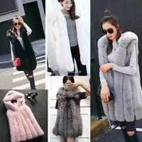 Women's Warm Outwears Slim Vest Faux Fox Fur Winter Waistcoat Jackets Coats 8-22