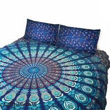 King Size QUEEN Size Quilt Cover Mandala Duvet Cotton Doona Blue Peacock